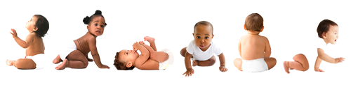 Crawling babies in diapers