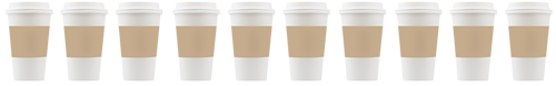 Disposable coffee cups with tops and sleeves