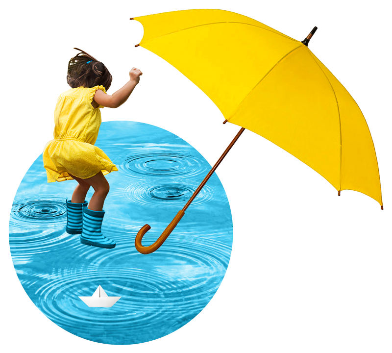 A young girl wearing a yellow sundress and blue rain boots jumps into a giant rain puddle. A yellow umbrella is in the foreground.