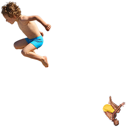 A man and a boy leaping as if into a pool
