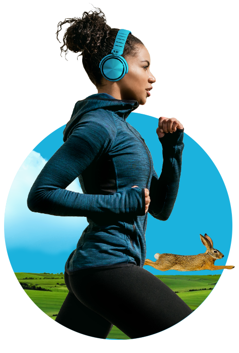 A woman runs while listening to music. A rabbit races alongside her.