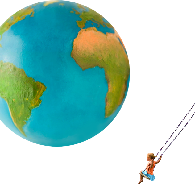 A young girl sits on a swing set while a giant earth globe looms above