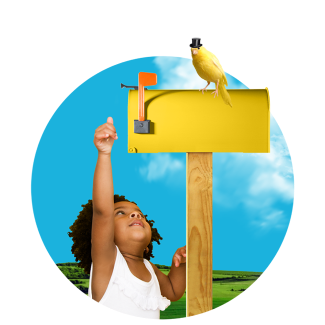 child checking yellow mailbox with a bird wearing a tiny tophat